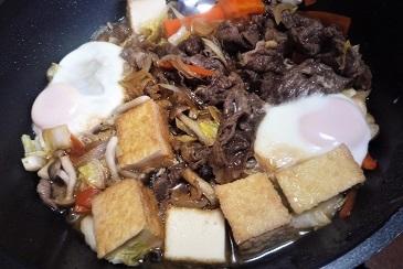 朝食すき焼き