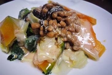 カボチャ納豆メカブ
