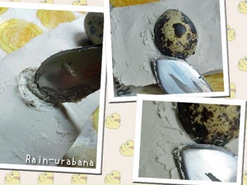 粘土に玉子を綺麗に埋めるのだ!
