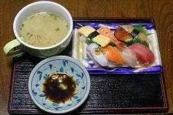 夕食はにぎり寿司20180123