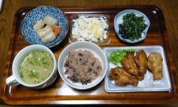 夕食は肉と野菜など20180130