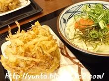 丸亀製麺 明太かま玉・掻き揚げ